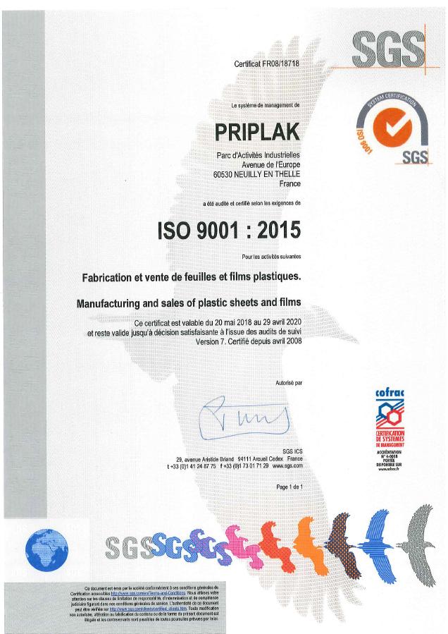 Certification Priplak