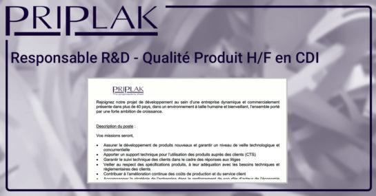 Prilpak. - Responsable R&D - Qualité Produit
