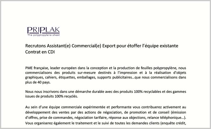 PRIPLAK - Annonce Assistant Commercial Export